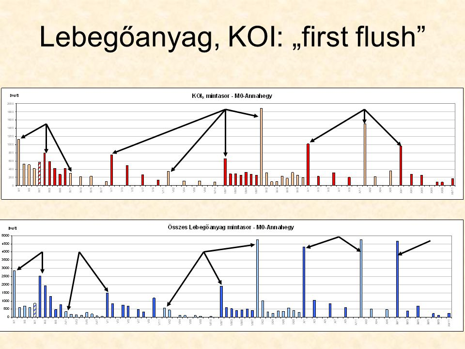 "Lebegőanyag, KOI: ""first flush"