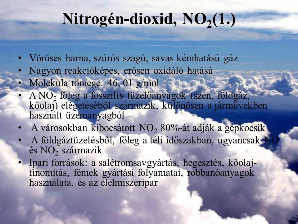 Nitrogén-dioxid, NO2(1.) Vöröses barna, szúrós szagú, savas kémhatású gáz. Nagyon reakcióképes, erősen oxidáló hatású.