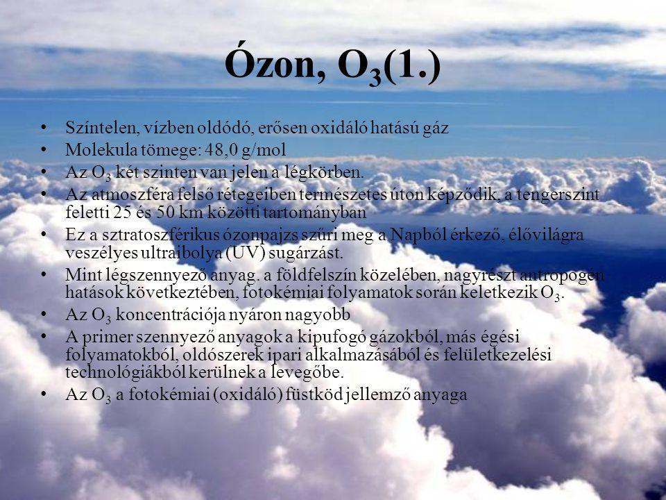 Ózon, O3(1.) Színtelen, vízben oldódó, erősen oxidáló hatású gáz