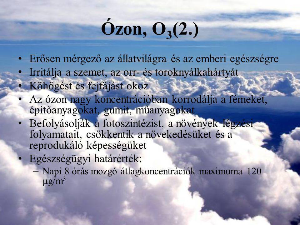 Ózon, O3(2.) Erősen mérgező az állatvilágra és az emberi egészségre
