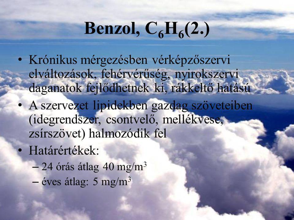 Benzol, C6H6(2.) Krónikus mérgezésben vérképzőszervi elváltozások, fehérvérűség, nyirokszervi daganatok fejlődhetnek ki, rákkeltő hatású.