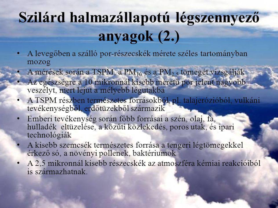 Szilárd halmazállapotú légszennyező anyagok (2.)