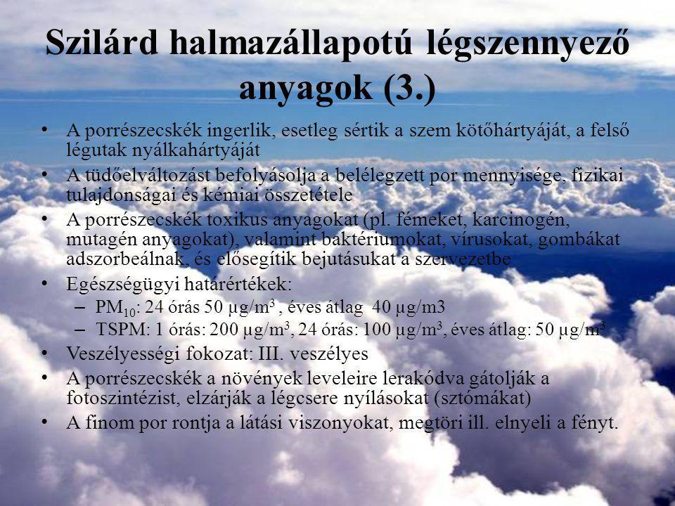 Szilárd halmazállapotú légszennyező anyagok (3.)