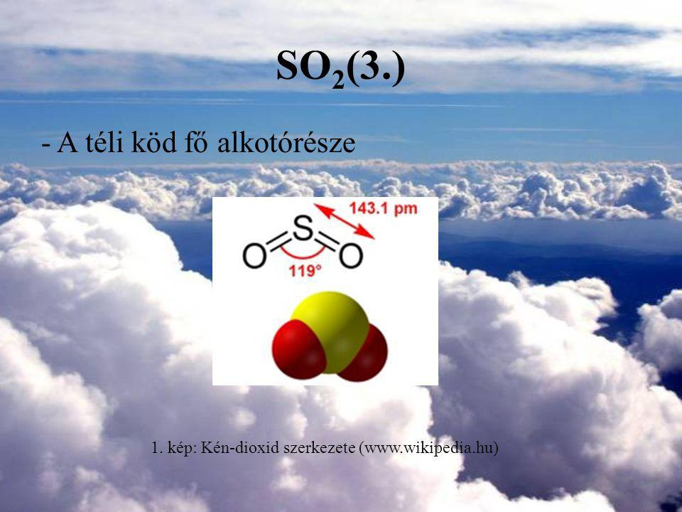 1. kép: Kén-dioxid szerkezete (www.wikipedia.hu)