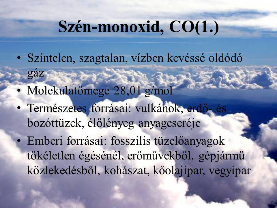 Szén-monoxid, CO(1.) Színtelen, szagtalan, vízben kevéssé oldódó gáz