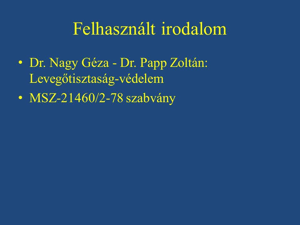 Felhasznált irodalom Dr. Nagy Géza - Dr. Papp Zoltán: Levegőtisztaság-védelem.