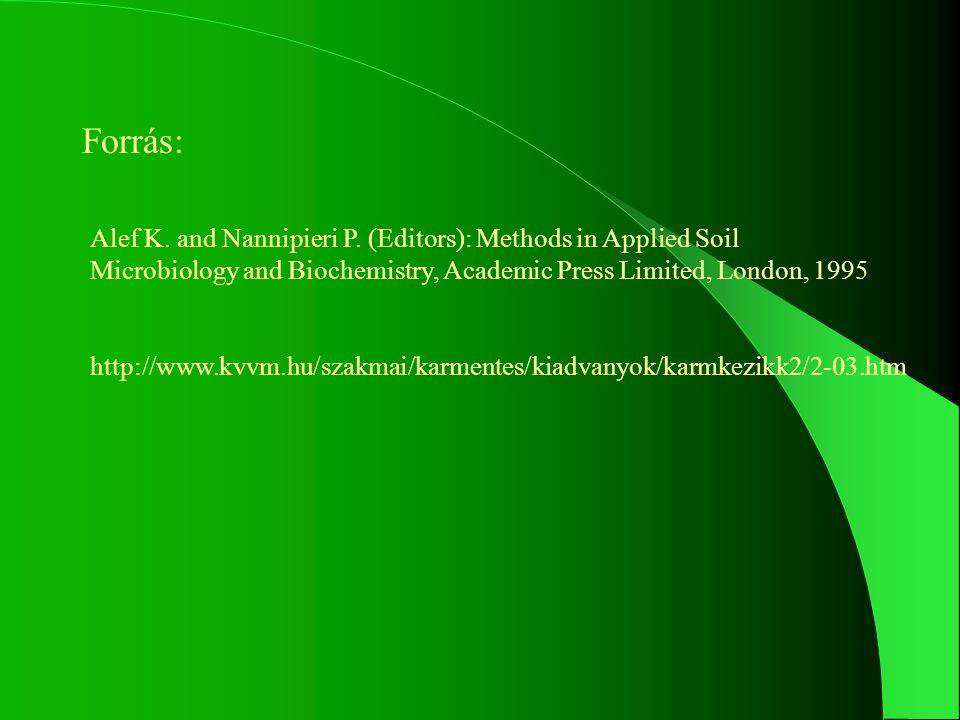 Forrás: Alef K. and Nannipieri P. (Editors): Methods in Applied Soil