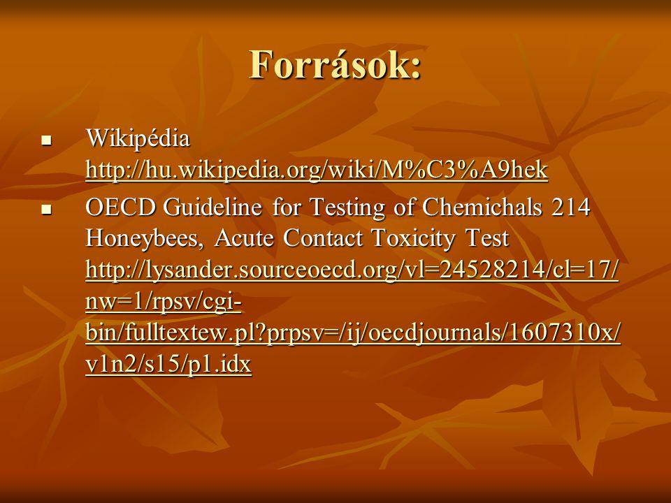 Források: Wikipédia http://hu.wikipedia.org/wiki/M%C3%A9hek