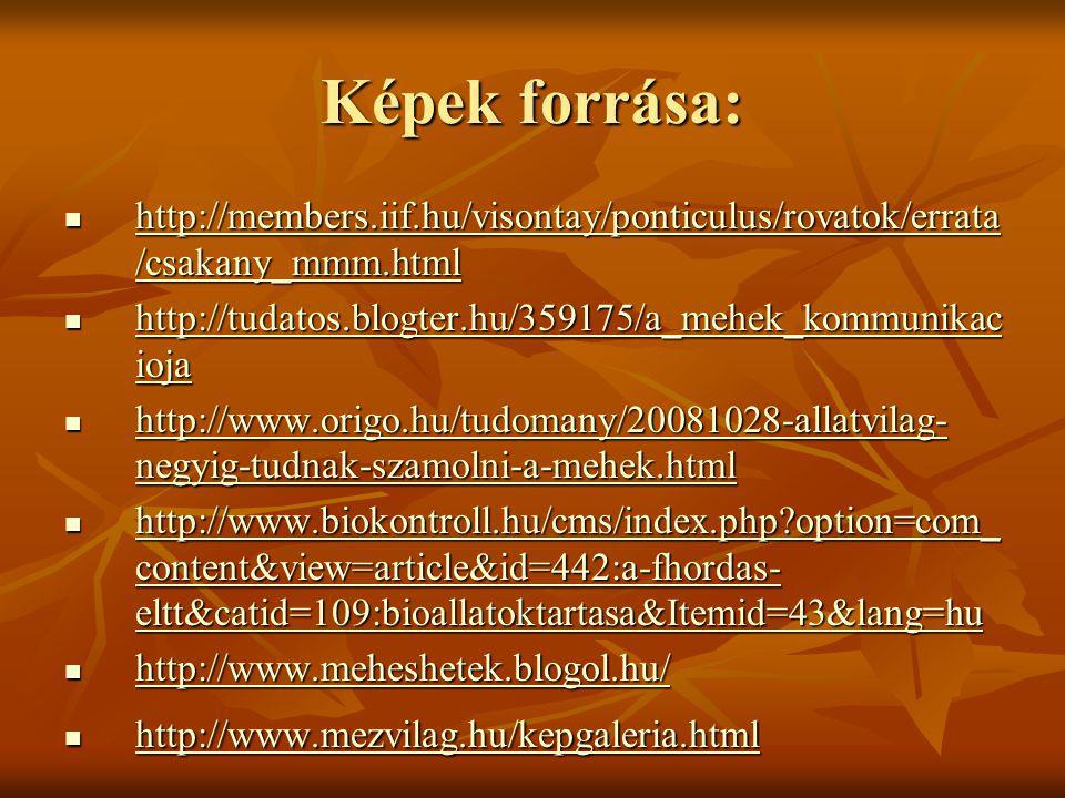 Képek forrása: http://members.iif.hu/visontay/ponticulus/rovatok/errata/csakany_mmm.html. http://tudatos.blogter.hu/359175/a_mehek_kommunikacioja.