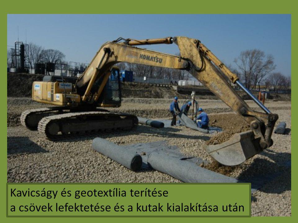 Kavicságy és geotextília terítése