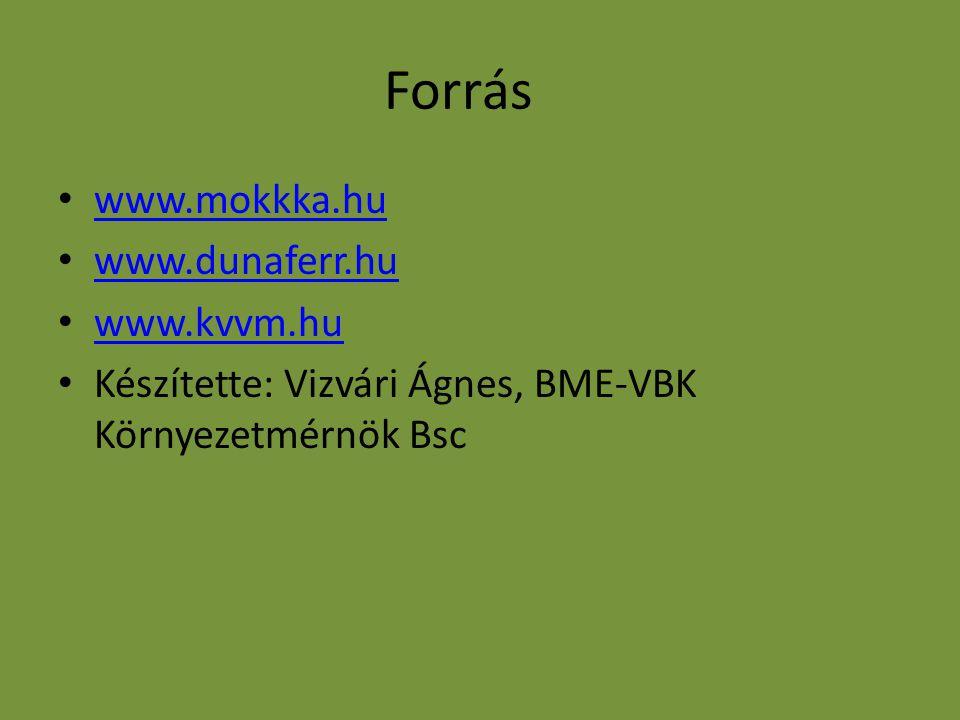 Forrás www.mokkka.hu www.dunaferr.hu www.kvvm.hu