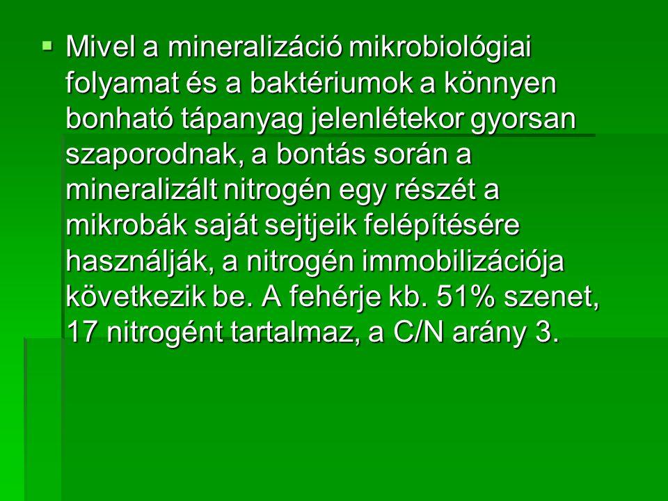 Mivel a mineralizáció mikrobiológiai folyamat és a baktériumok a könnyen bonható tápanyag jelenlétekor gyorsan szaporodnak, a bontás során a mineralizált nitrogén egy részét a mikrobák saját sejtjeik felépítésére használják, a nitrogén immobilizációja következik be.