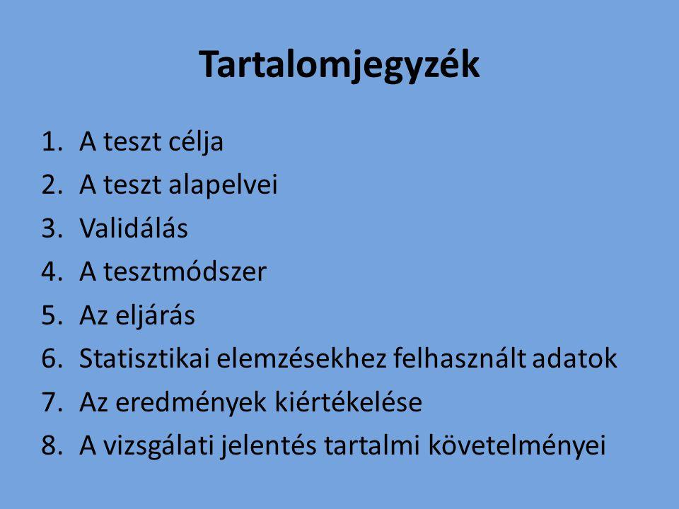 Tartalomjegyzék A teszt célja A teszt alapelvei Validálás
