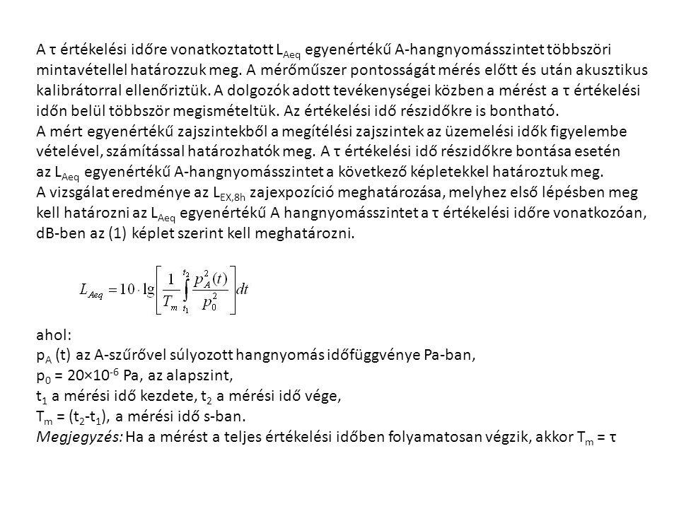 A τ értékelési időre vonatkoztatott LAeq egyenértékű A-hangnyomásszintet többszöri