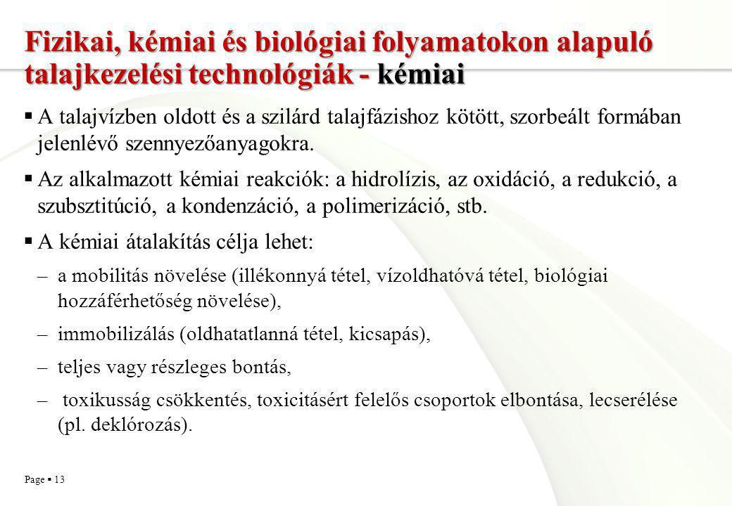 Fizikai, kémiai és biológiai folyamatokon alapuló talajkezelési technológiák - kémiai