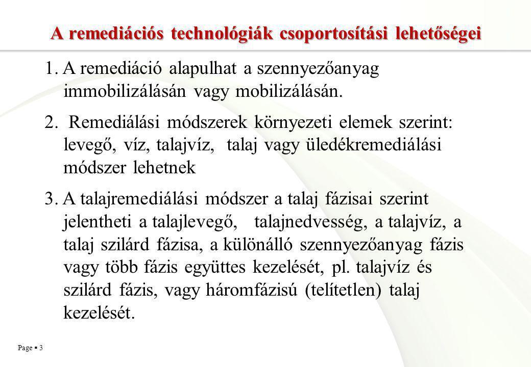A remediációs technológiák csoportosítási lehetőségei
