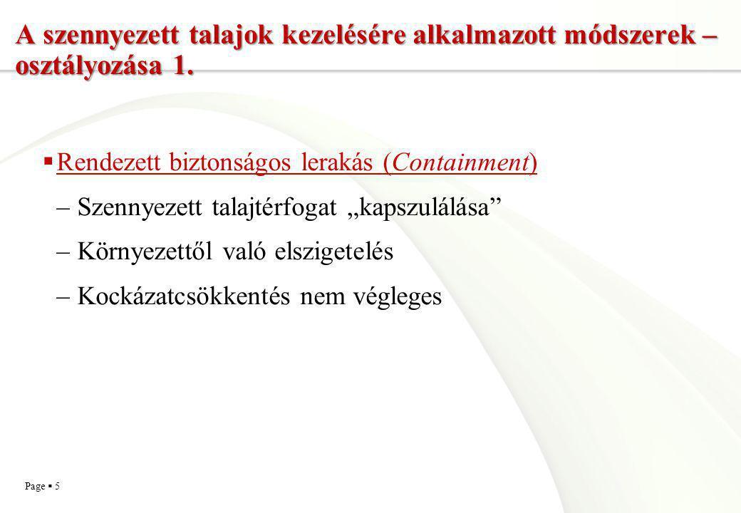A szennyezett talajok kezelésére alkalmazott módszerek – osztályozása 1.