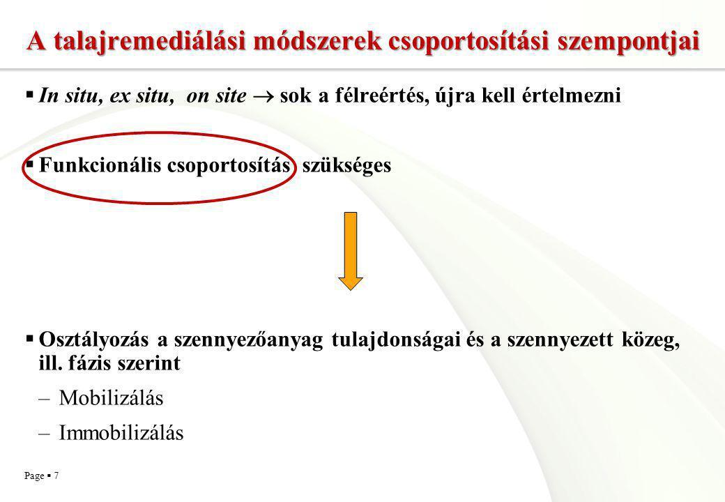 A talajremediálási módszerek csoportosítási szempontjai