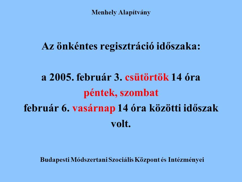 Az önkéntes regisztráció időszaka: a 2005. február 3. csütörtök 14 óra