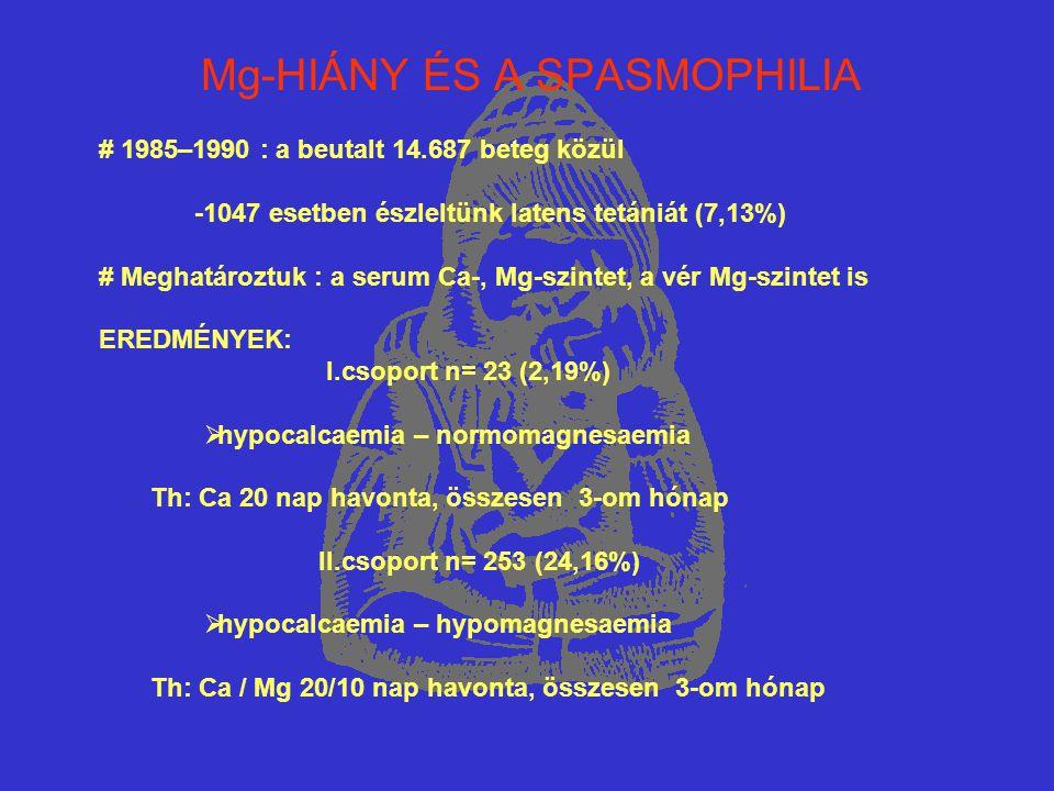 Mg-HIÁNY ÉS A SPASMOPHILIA