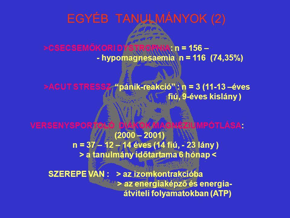 EGYÉB TANULMÁNYOK (2) >CSECSEMŐKORI DYSTROPHIA: n = 156 –