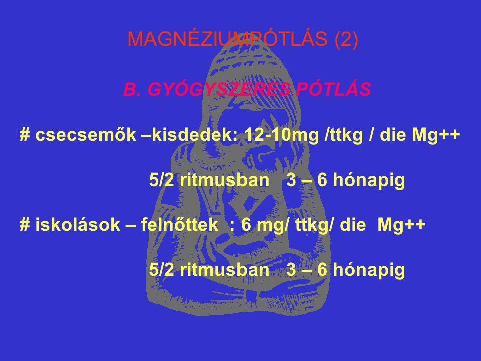 MAGNÉZIUMPÓTLÁS (2) B. GYÓGYSZERES PÓTLÁS