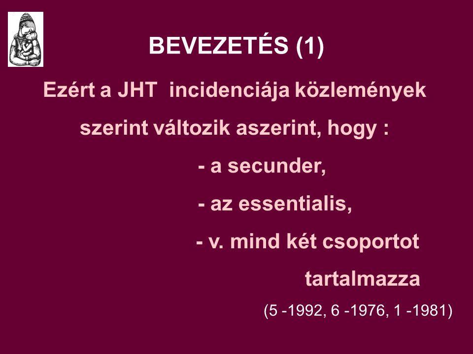 Ezért a JHT incidenciája közlemények szerint változik aszerint, hogy :