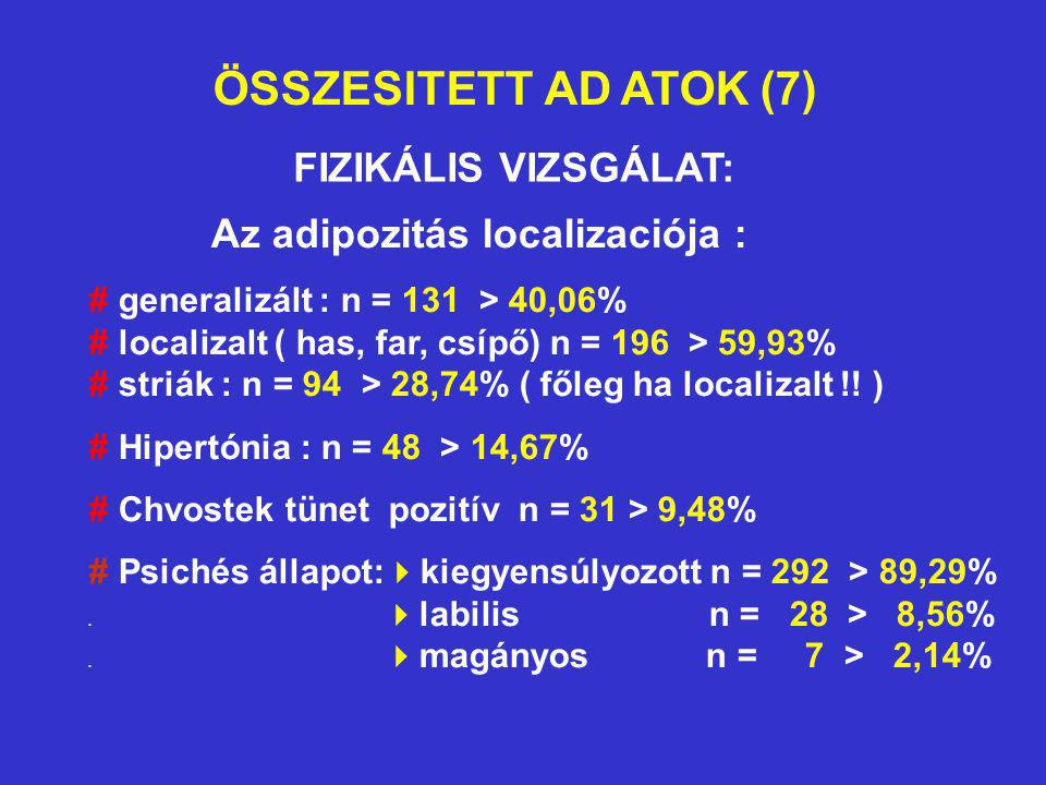 ÖSSZESITETT AD ATOK (7) FIZIKÁLIS VIZSGÁLAT: