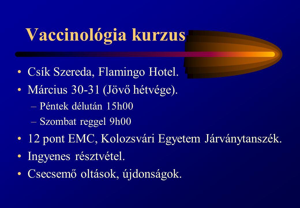 Vaccinológia kurzus Csík Szereda, Flamingo Hotel.