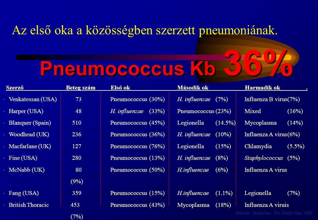 Pneumococcus Kb 36% Az első oka a közösségben szerzett pneumoniának.