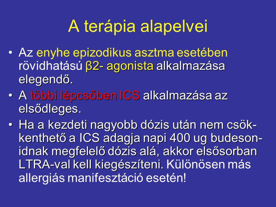 A terápia alapelvei Az enyhe epizodikus asztma esetében rövidhatású β2- agonista alkalmazása elegendő.