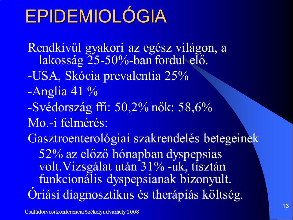 EPIDEMIOLÓGIA Rendkívűl gyakori az egész világon, a lakosság 25-50%-ban fordul elő. -USA, Skócia prevalentia 25%