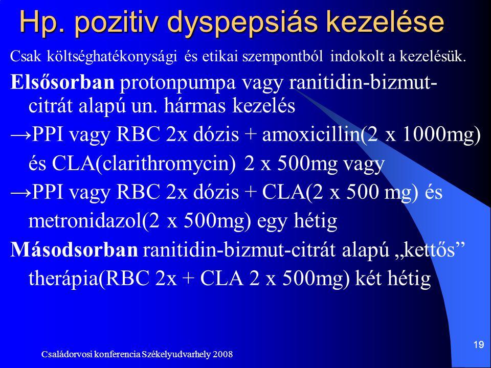 Hp. pozitiv dyspepsiás kezelése