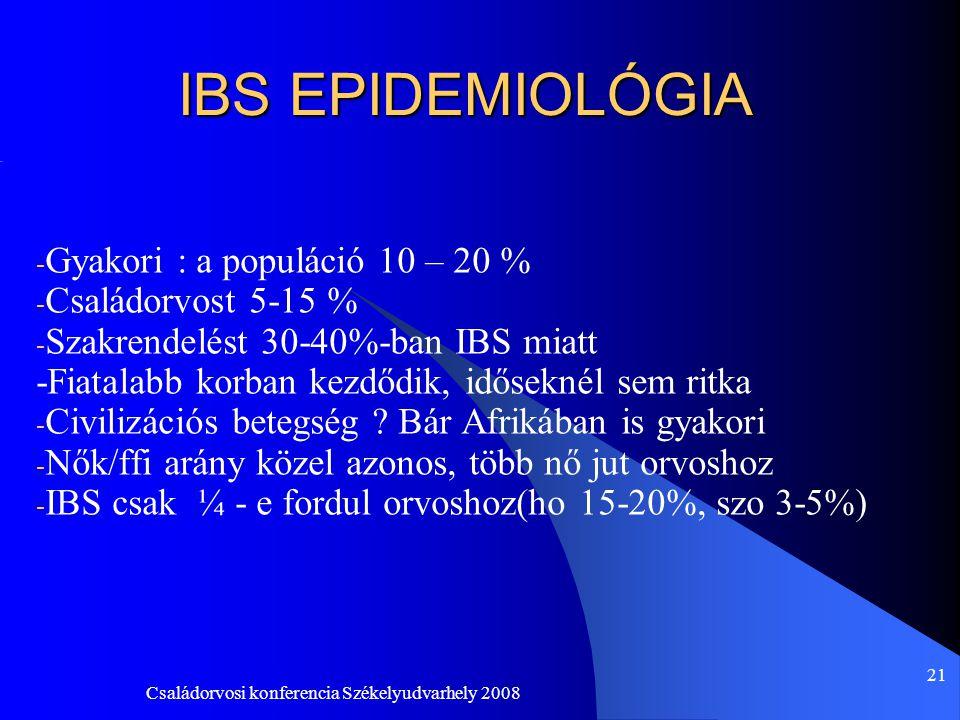 IBS EPIDEMIOLÓGIA Gyakori : a populáció 10 – 20 % Családorvost 5-15 %