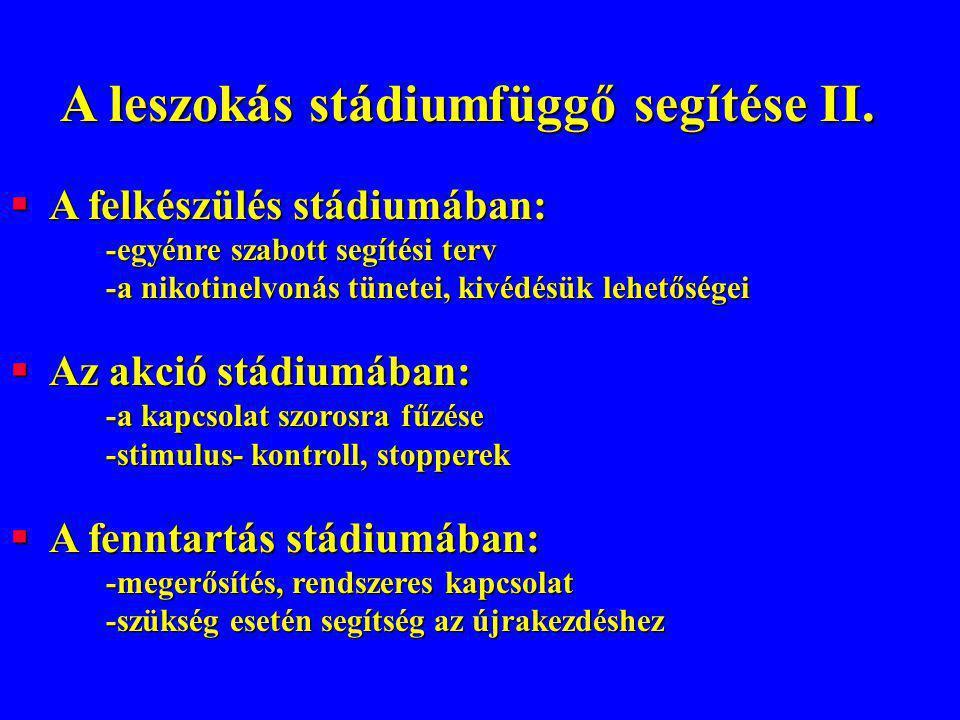 A leszokás stádiumfüggő segítése II.