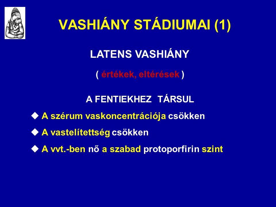 VASHIÁNY STÁDIUMAI (1) LATENS VASHIÁNY ( értékek, eltérések )