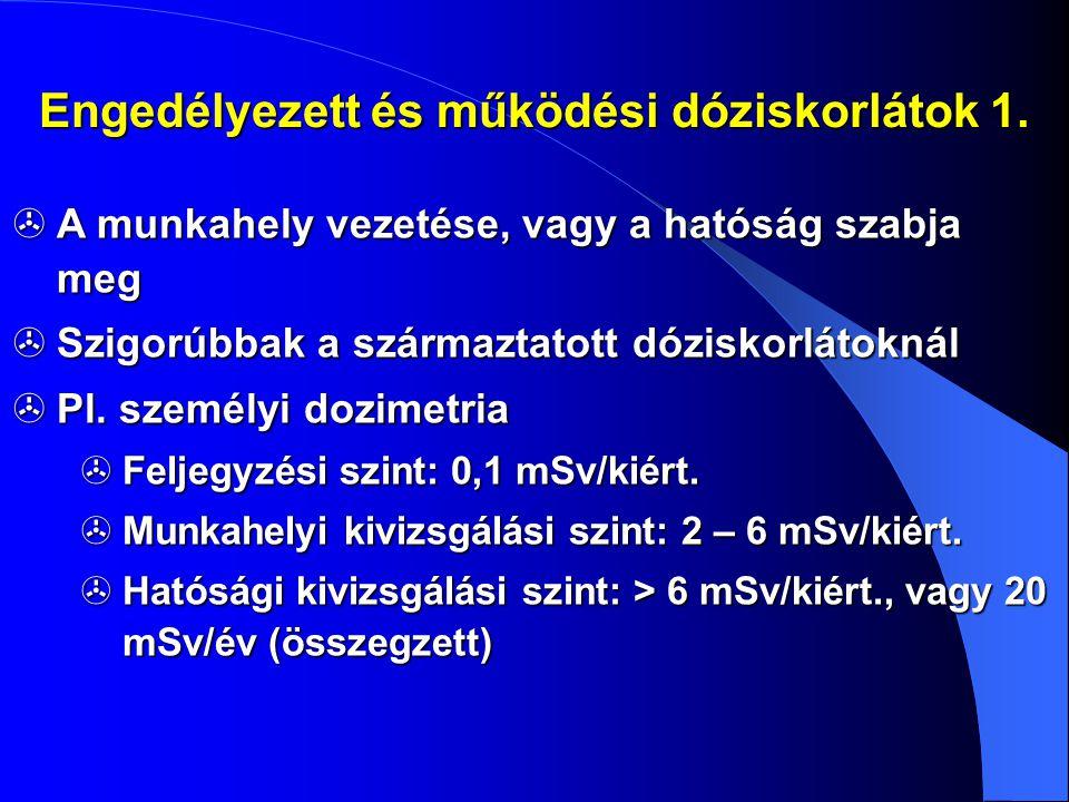Engedélyezett és működési dóziskorlátok 1.