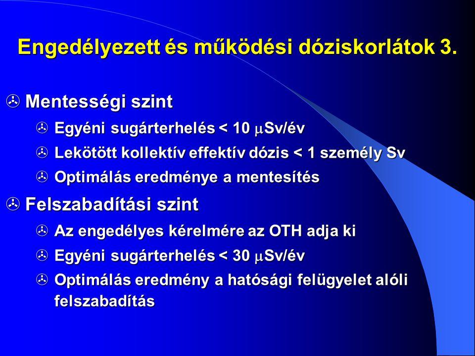 Engedélyezett és működési dóziskorlátok 3.