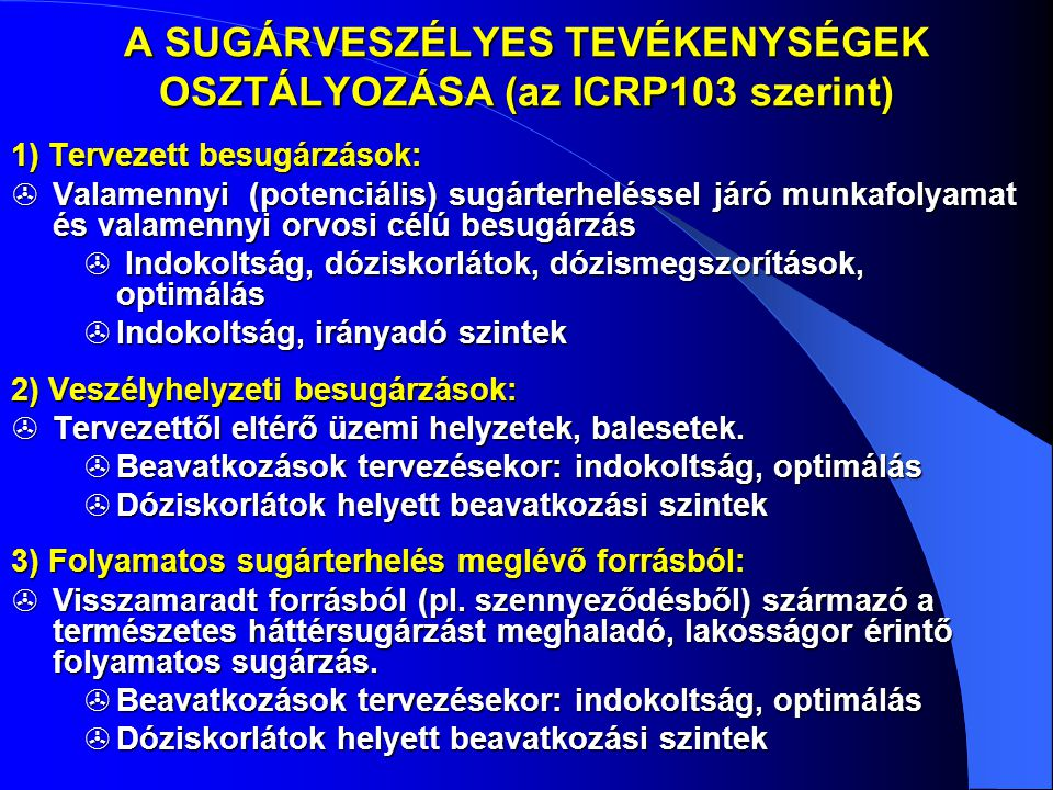 A SUGÁRVESZÉLYES TEVÉKENYSÉGEK OSZTÁLYOZÁSA (az ICRP103 szerint)