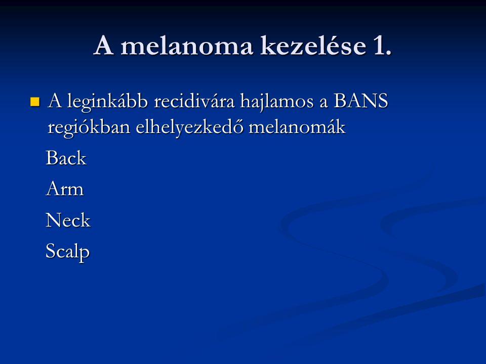 A melanoma kezelése 1. A leginkább recidivára hajlamos a BANS regiókban elhelyezkedő melanomák. Back.