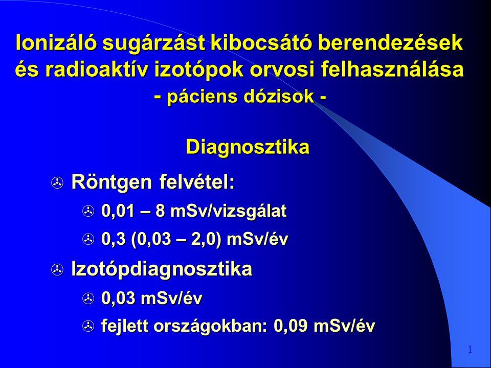 Ionizáló sugárzást kibocsátó berendezések és radioaktív izotópok orvosi felhasználása - páciens dózisok -