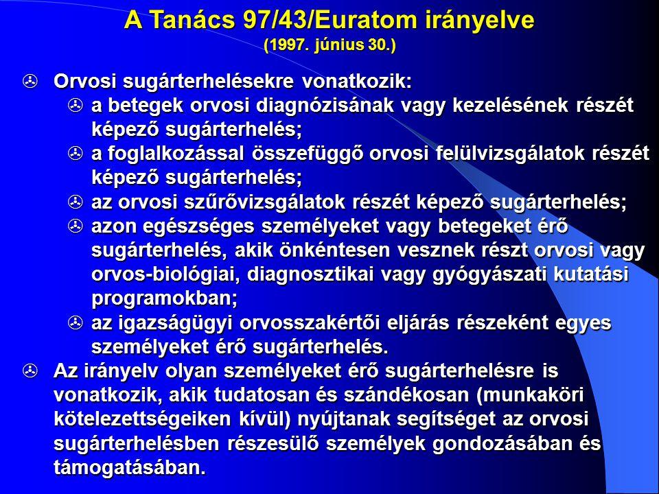 A Tanács 97/43/Euratom irányelve (1997. június 30.)