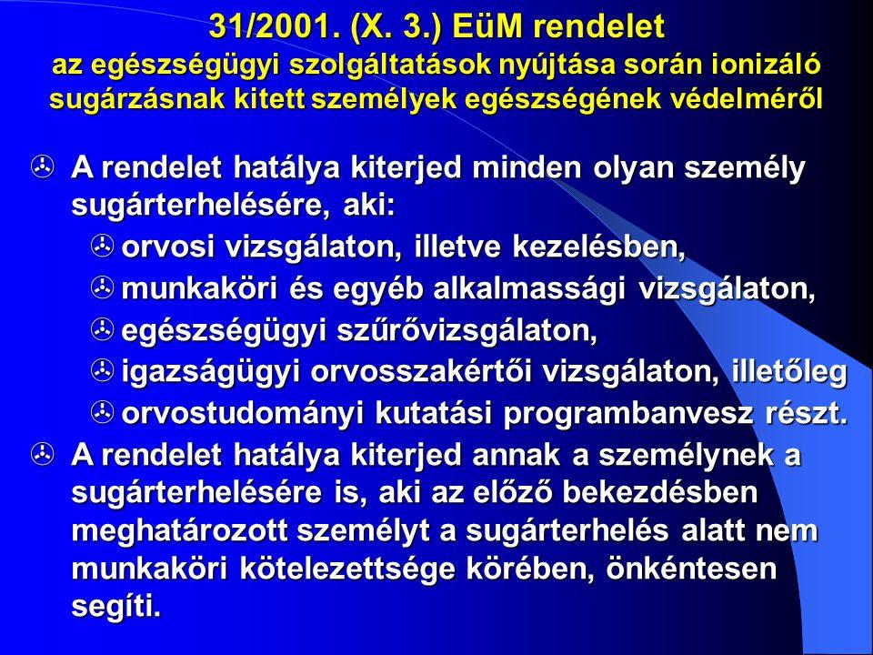 31/2001. (X. 3.) EüM rendelet az egészségügyi szolgáltatások nyújtása során ionizáló sugárzásnak kitett személyek egészségének védelméről