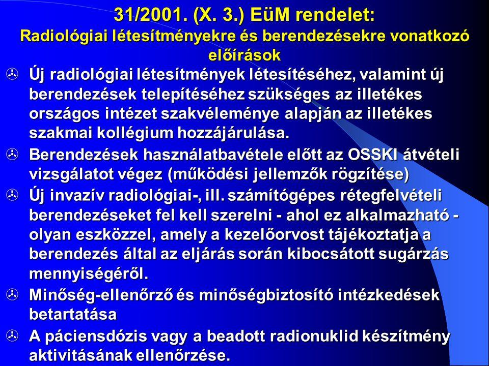 31/2001. (X. 3.) EüM rendelet: Radiológiai létesítményekre és berendezésekre vonatkozó előírások