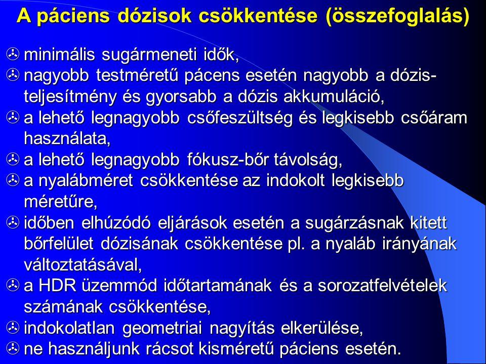 A páciens dózisok csökkentése (összefoglalás)