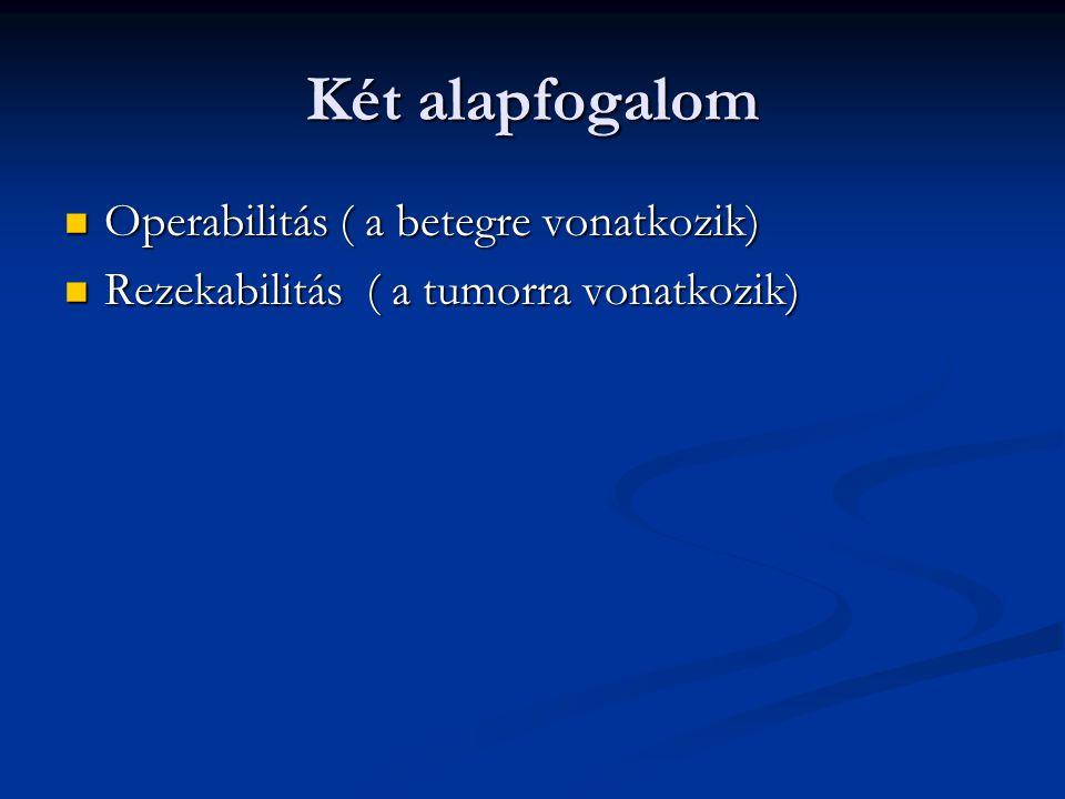 Két alapfogalom Operabilitás ( a betegre vonatkozik)