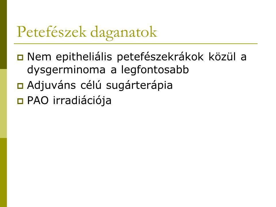 Petefészek daganatok Nem epitheliális petefészekrákok közül a dysgerminoma a legfontosabb. Adjuváns célú sugárterápia.