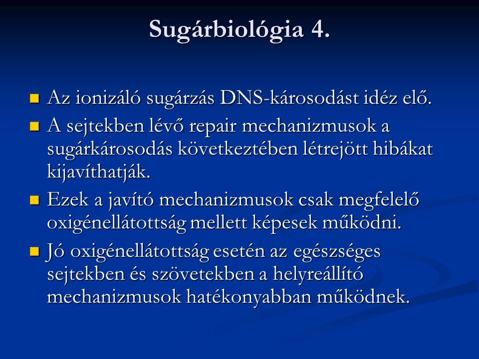 Sugárbiológia 4. Az ionizáló sugárzás DNS-károsodást idéz elő.