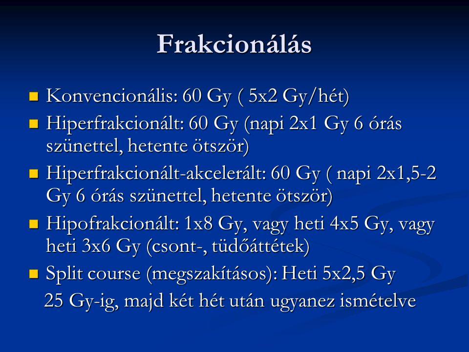 Frakcionálás Konvencionális: 60 Gy ( 5x2 Gy/hét)