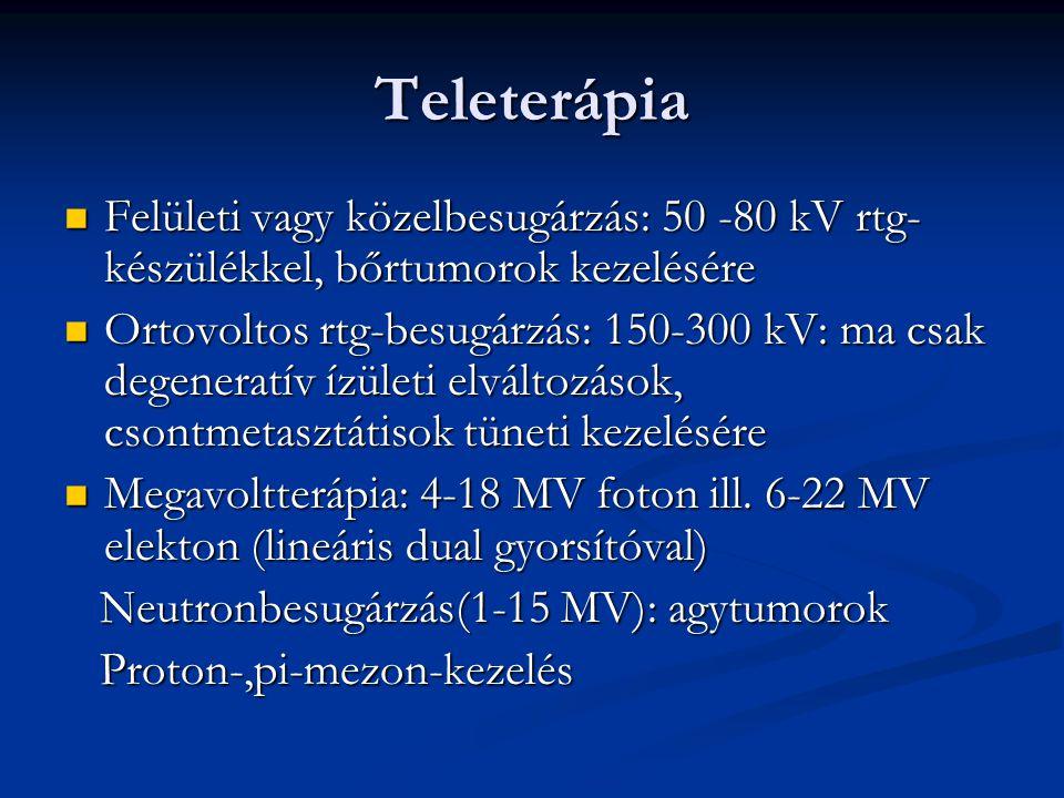 Teleterápia Felületi vagy közelbesugárzás: 50 -80 kV rtg- készülékkel, bőrtumorok kezelésére.
